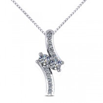 Diamond Two Stone Pendant Necklace 14k White Gold (0.15ct)