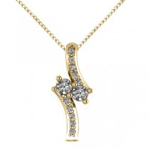 Diamond Two Stone Pendant Necklace 14k Yellow Gold (0.15ct)