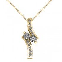 Diamond Two Stone Pendant Necklace 14k Yellow Gold (0.15ct)