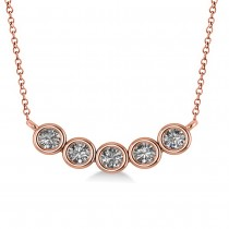 Bezel-set Five-Stone Diamond Pendant Necklace 14k Rose Gold (1.00ct)