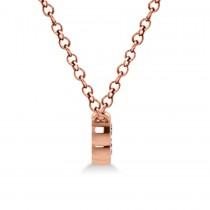 Bezel-set Five-Stone Diamond Pendant Necklace 14k Rose Gold (1.00ct)