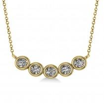 Bezel-set Five-Stone Diamond Pendant Necklace 14k Yellow Gold (1.00ct)