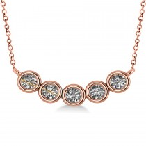 Bezel-set Five-Stone Diamond Pendant Necklace 14k Rose Gold (2.00ct)