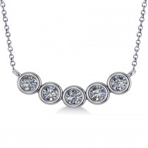 Bezel-set Five-Stone Diamond Pendant Necklace 14k White Gold (2.00ct)