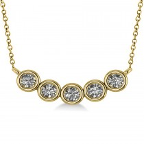 Bezel-set Five-Stone Diamond Pendant Necklace 14k Yellow Gold (2.00ct)