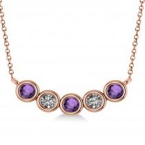 Diamond & Amethyst 5-Stone Pendant Necklace 14k Rose Gold 0.25ct
