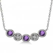Diamond & Amethyst 5-Stone Pendant Necklace 14k White Gold 0.25ct