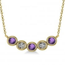 Diamond & Amethyst 5-Stone Pendant Necklace 14k Yellow Gold 0.25ct