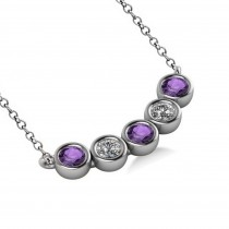 Diamond & Amethyst 5-Stone Pendant Necklace 14k White Gold 2.00ct