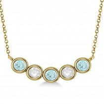 Diamond & Aquamarine 5-Stone Pendant Necklace 14k Yellow Gold 1.00ct