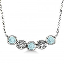 Diamond & Aquamarine 5-Stone Pendant Necklace 14k White Gold 0.25ct