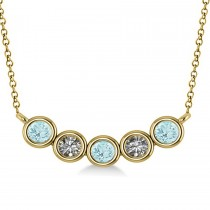Diamond & Aquamarine 5-Stone Pendant Necklace 14k Yellow Gold 0.25ct