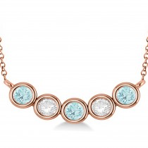Diamond & Aquamarine 5-Stone Pendant Necklace 14k Rose Gold 2.00ct