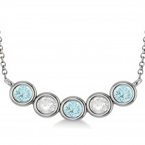Diamond & Aquamarine 5-Stone Pendant Necklace 14k White Gold 2.00ct