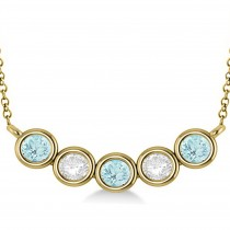 Diamond & Aquamarine 5-Stone Pendant Necklace 14k Yellow Gold 2.00ct