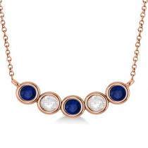 Diamond & Blue Sapphire 5-Stone Pendant Necklace 14k Rose Gold 1.00ct