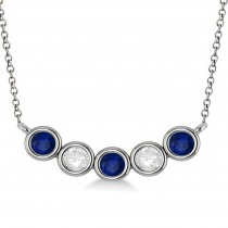 Diamond & Blue Sapphire 5-Stone Pendant Necklace 14k White Gold 1.00ct