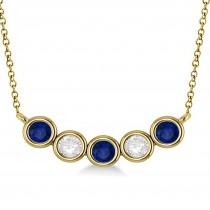Diamond & Blue Sapphire 5-Stone Pendant Necklace 14k Yellow Gold 1.00ct
