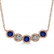 Diamond & Blue Sapphire 5-Stone Pendant Necklace 14k Rose Gold 0.25ct