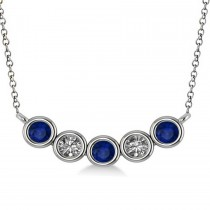 Diamond & Blue Sapphire 5-Stone Pendant Necklace 14k White Gold 0.25ct