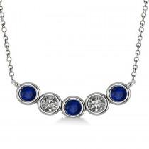 Diamond & Blue Sapphire 5-Stone Pendant Necklace 14k White Gold 0.25ct