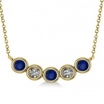 Diamond & Blue Sapphire 5-Stone Pendant Necklace 14k Yellow Gold 0.25ct