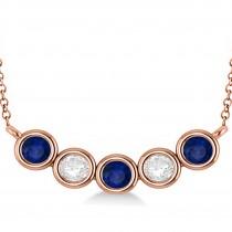 Diamond & Blue Sapphire 5-Stone Pendant Necklace 14k Rose Gold 2.00ct