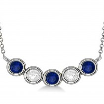 Diamond & Blue Sapphire 5-Stone Pendant Necklace 14k White Gold 2.00ct