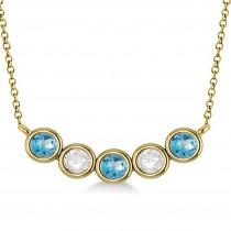 Diamond & Blue Topaz 5-Stone Pendant Necklace 14k Yellow Gold 1.00ct