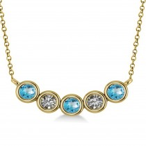 Diamond & Blue Topaz 5-Stone Pendant Necklace 14k Yellow Gold 0.25ct