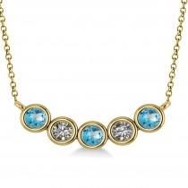 Diamond & Blue Topaz 5-Stone Pendant Necklace 14k Yellow Gold 0.25ct