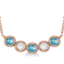 Diamond & Blue Topaz 5-Stone Pendant Necklace 14k Rose Gold 2.00ct