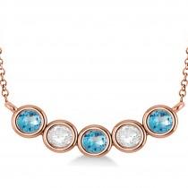 Diamond & Blue Topaz 5-Stone Pendant Necklace 14k Rose Gold 2.00ct