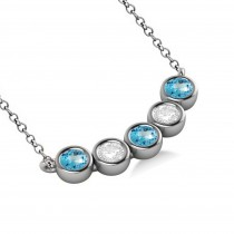 Diamond & Blue Topaz 5-Stone Pendant Necklace 14k White Gold 2.00ct