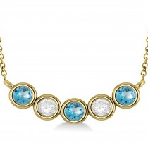 Diamond & Blue Topaz 5-Stone Pendant Necklace 14k Yellow Gold 2.00ct