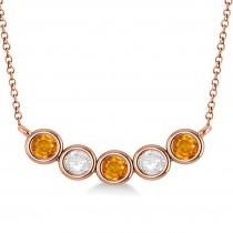 Diamond & Citrine 5-Stone Pendant Necklace 14k Rose Gold 1.00ct