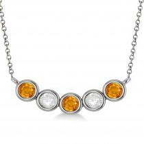 Diamond & Citrine 5-Stone Pendant Necklace 14k White Gold 1.00ct