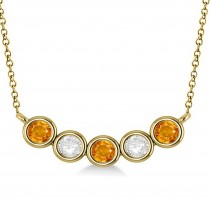 Diamond & Citrine 5-Stone Pendant Necklace 14k Yellow Gold 1.00ct