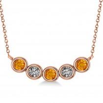 Diamond & Citrine 5-Stone Pendant Necklace 14k Rose Gold 0.25ct