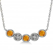 Diamond & Citrine 5-Stone Pendant Necklace 14k White Gold 0.25ct