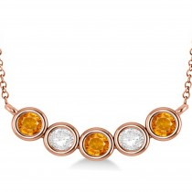 Diamond & Citrine 5-Stone Pendant Necklace 14k Rose Gold 2.00ct