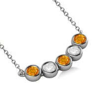 Diamond & Citrine 5-Stone Pendant Necklace 14k White Gold 2.00ct