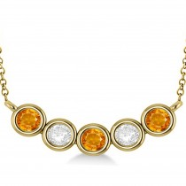 Diamond & Citrine 5-Stone Pendant Necklace 14k Yellow Gold 2.00ct