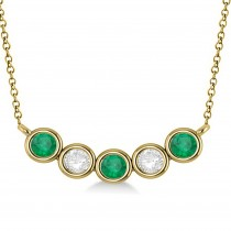 Diamond & Emerald 5-Stone Pendant Necklace 14k Yellow Gold 1.00ct