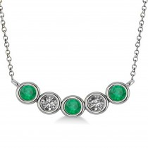 Diamond & Emerald 5-Stone Pendant Necklace 14k White Gold 0.25ct