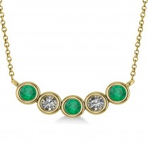 Diamond & Emerald 5-Stone Pendant Necklace 14k Yellow Gold 0.25ct