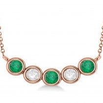 Diamond & Emerald 5-Stone Pendant Necklace 14k Rose Gold 2.00ct