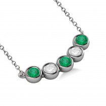 Diamond & Emerald 5-Stone Pendant Necklace 14k White Gold 2.00ct