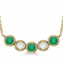 Diamond & Emerald 5-Stone Pendant Necklace 14k Yellow Gold 2.00ct