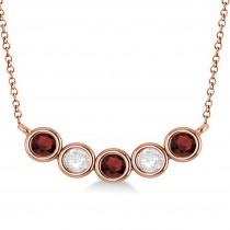 Diamond & Garnet 5-Stone Pendant Necklace 14k Rose Gold 1.00ct